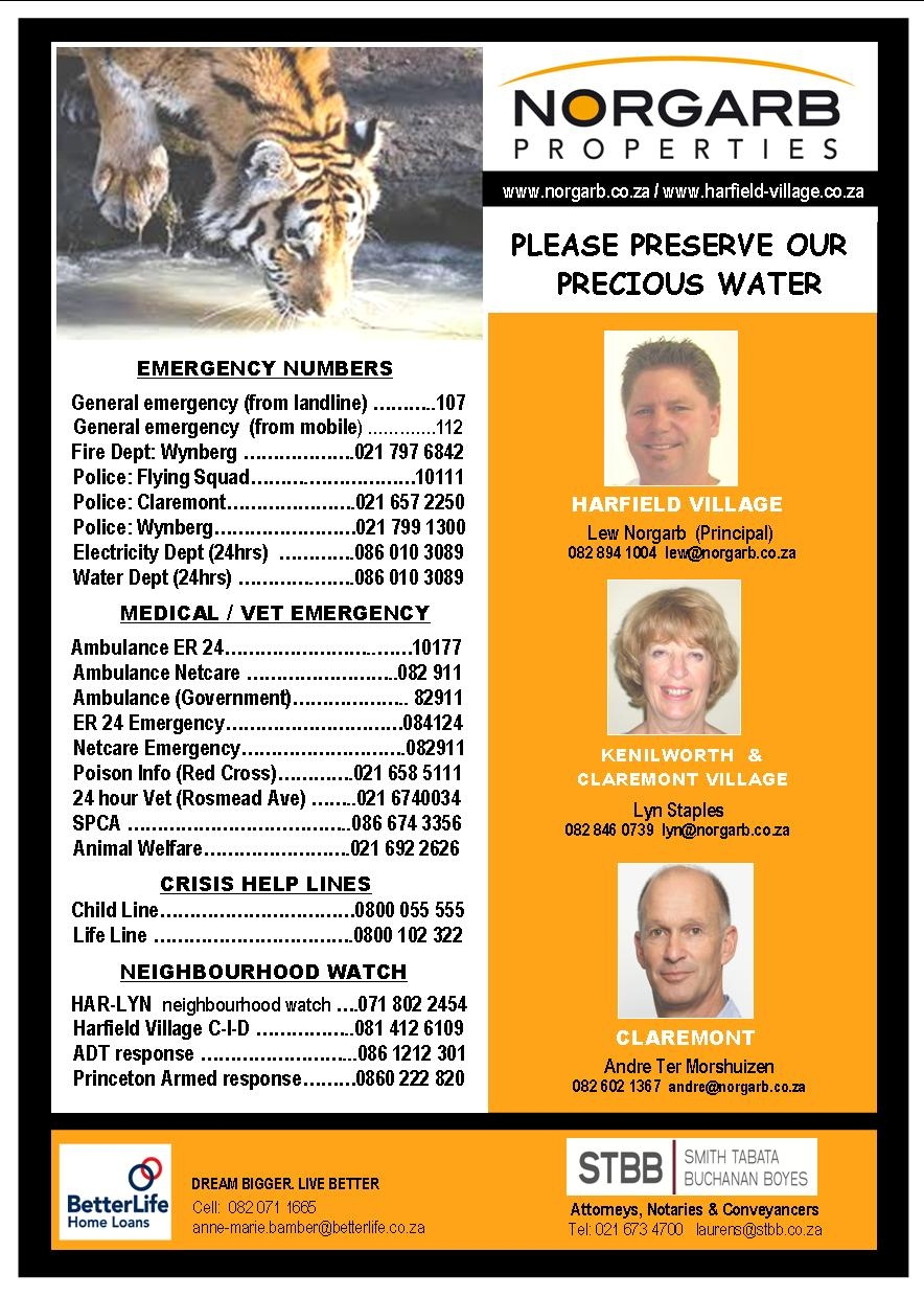 harfield village emergency numbers sponsored by norgarb properties