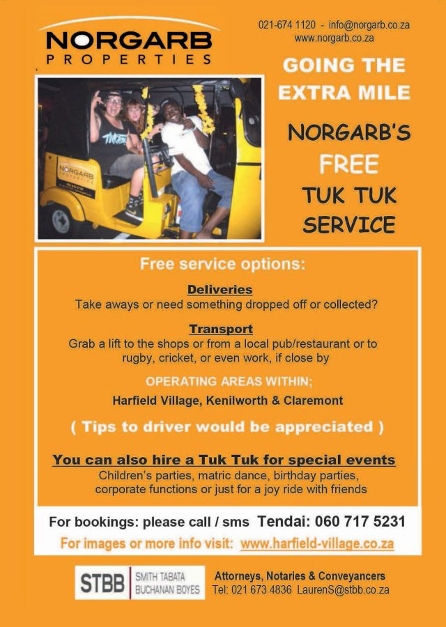 Tuk tuk service sponsored by norgarb properties